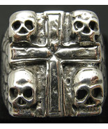 R001005 STERLING SILVER Heavy Biker Ring Solid 925 Cross and four Skulls - $55.50