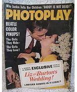Photoplay Magazine ELIZABETH TAYLOR RICHARD BURTON WEDDING The BEATLES etc - $19.95