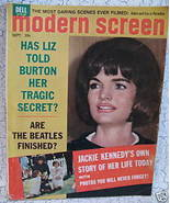 Modern Screen Magazine JACKIE KENNEDY ELIZABETH TAYLOR THE BEATLES Burto... - $14.95