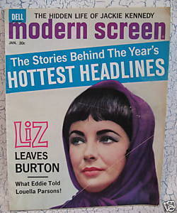 Modern Screen Magazine Movie Stars LIZ TAYLOR RICHARD BURTON JACKIE KENNEDY etc