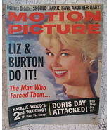 Motion Picture Magazine DORIS DAY NATALIE WOOD Elizabeth TAYLOR BURTON E... - $14.95