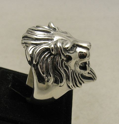 R001001 Heavy STERLING SILVER Ring Solid 925 Huge Lion Head