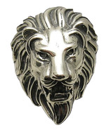 R001001 Heavy STERLING SILVER Ring Solid 925 Huge Lion Head - $93.00