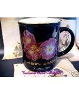 EDMONTON Alberta Wild Rose Cobalt Blue Souvenir Coffee Cup Mug Tea Vintage  - $9.99