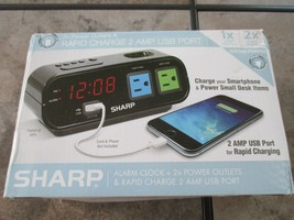 Sharp Alarm Clock with 1 Rapid Charge USB & 2 AC Power Outlets SPC137T - $22.13