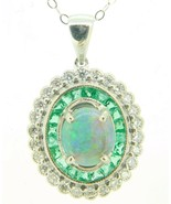 14K Gold Boulder Genuine Natural Opal Double Halo Pendant with Emeralds ... - $1,395.00
