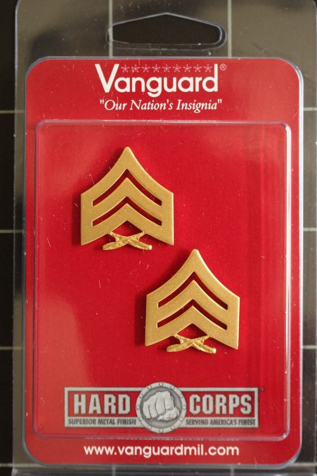 VANGUARD USMC OFFICER 2ND LT COLLAR DEVICE 1 PAIR GOLD SUBDUED