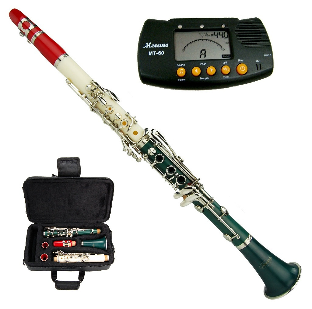 MERANO B FLAT RED-WHITE-GREEN ABS CLARINET WITH CASE + FREE METRO TUNER