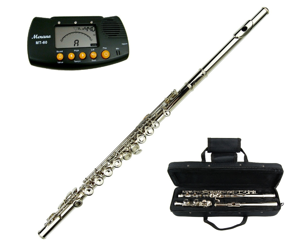 MERANO NICKEL PLATED FLUTE KEY OF C WITH CASE + FREE METRO TUNER