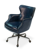 Chateau Blue Top Grain Leather Office Library Chair ,25'' x 35''H. - $1,183.05