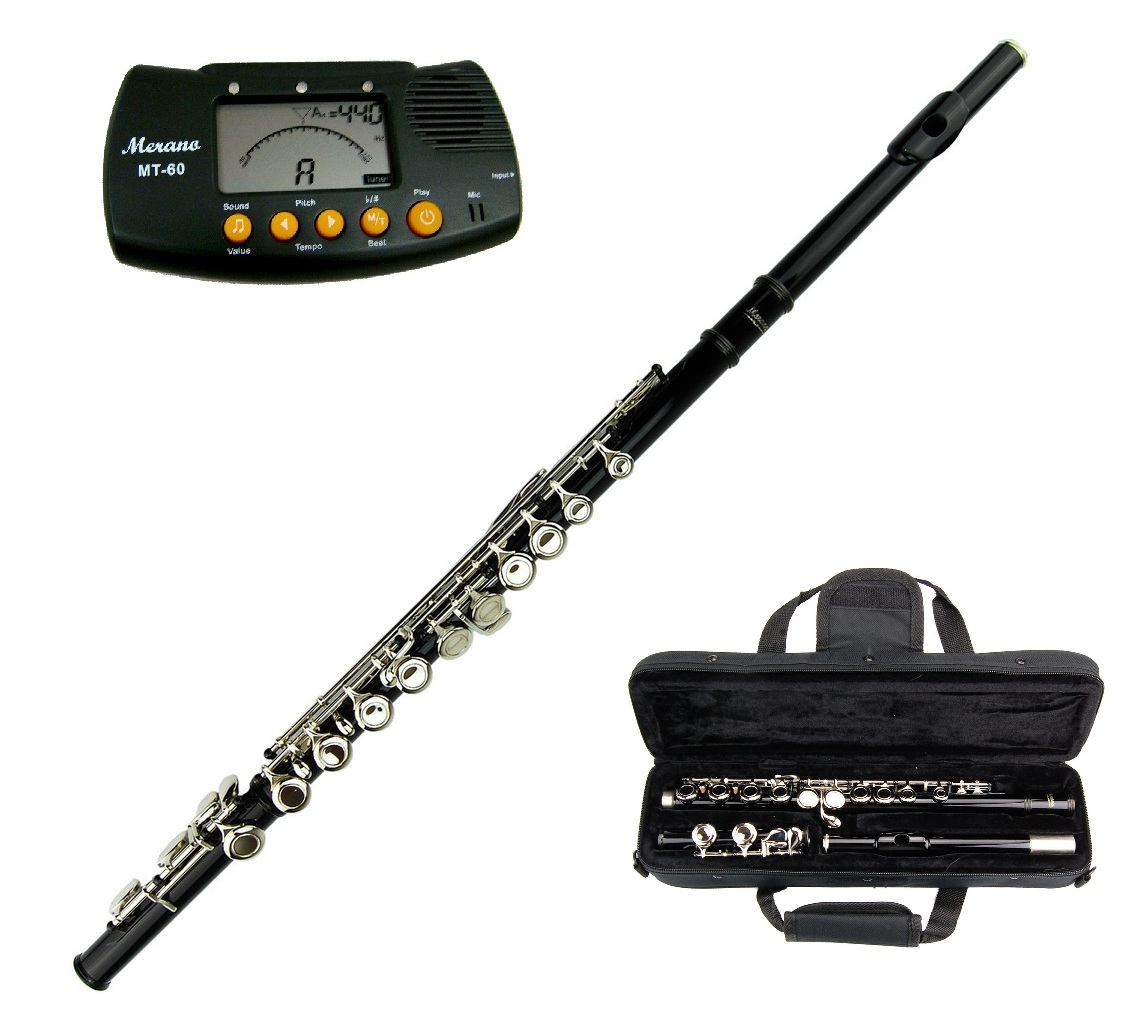 MERANO BLACK LACQUER PLATED FLUTE KEY OF C WITH CASE + FREE METRO TUNER