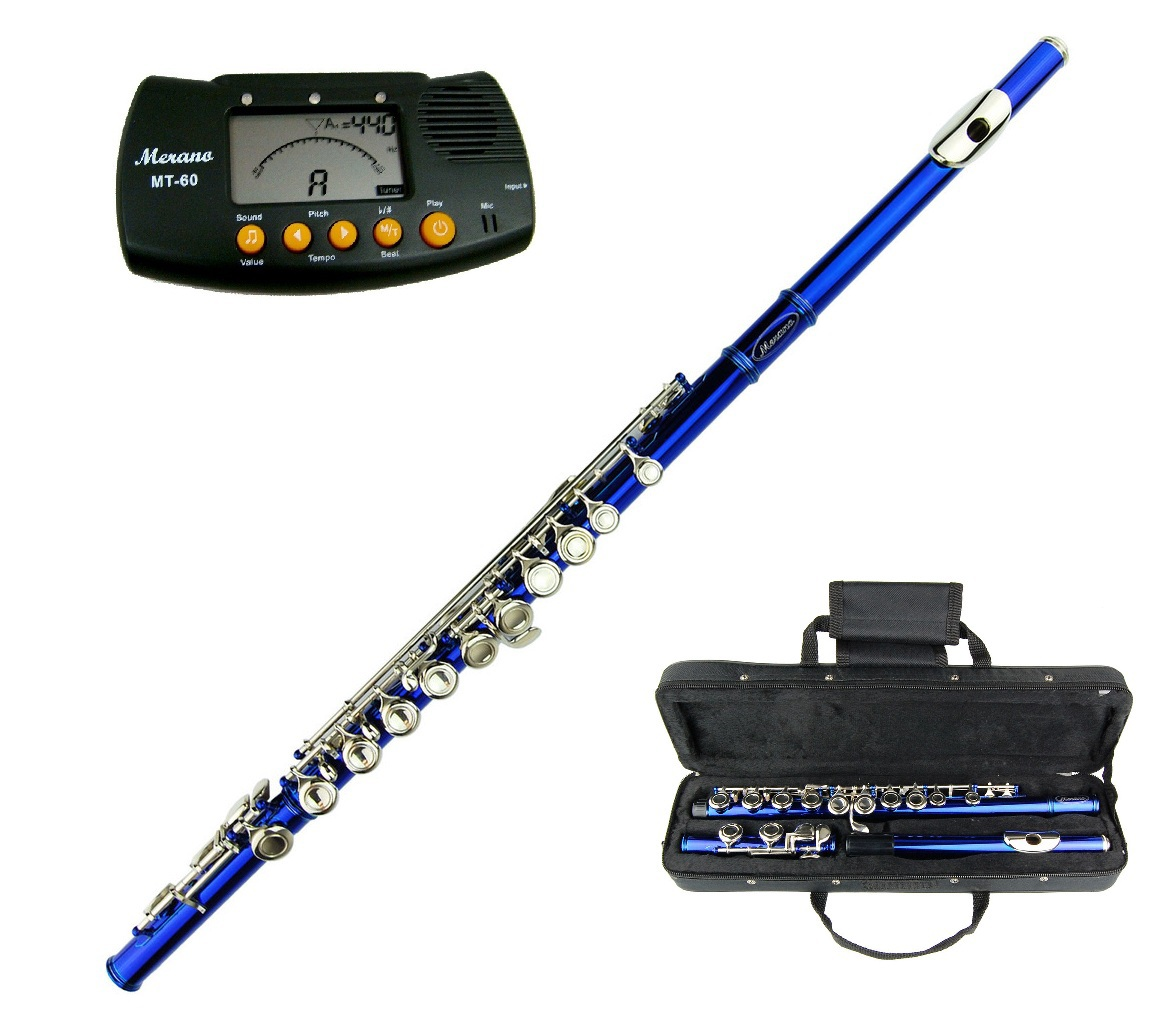 MERANO BLUE FLUTE KEY OF C WITH CASE + FREE METRO TUNER