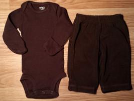 Boy's Size NB Newborn Carter's Two Piece Brown L/S Ribbed Top & Fleece P... - $17.50