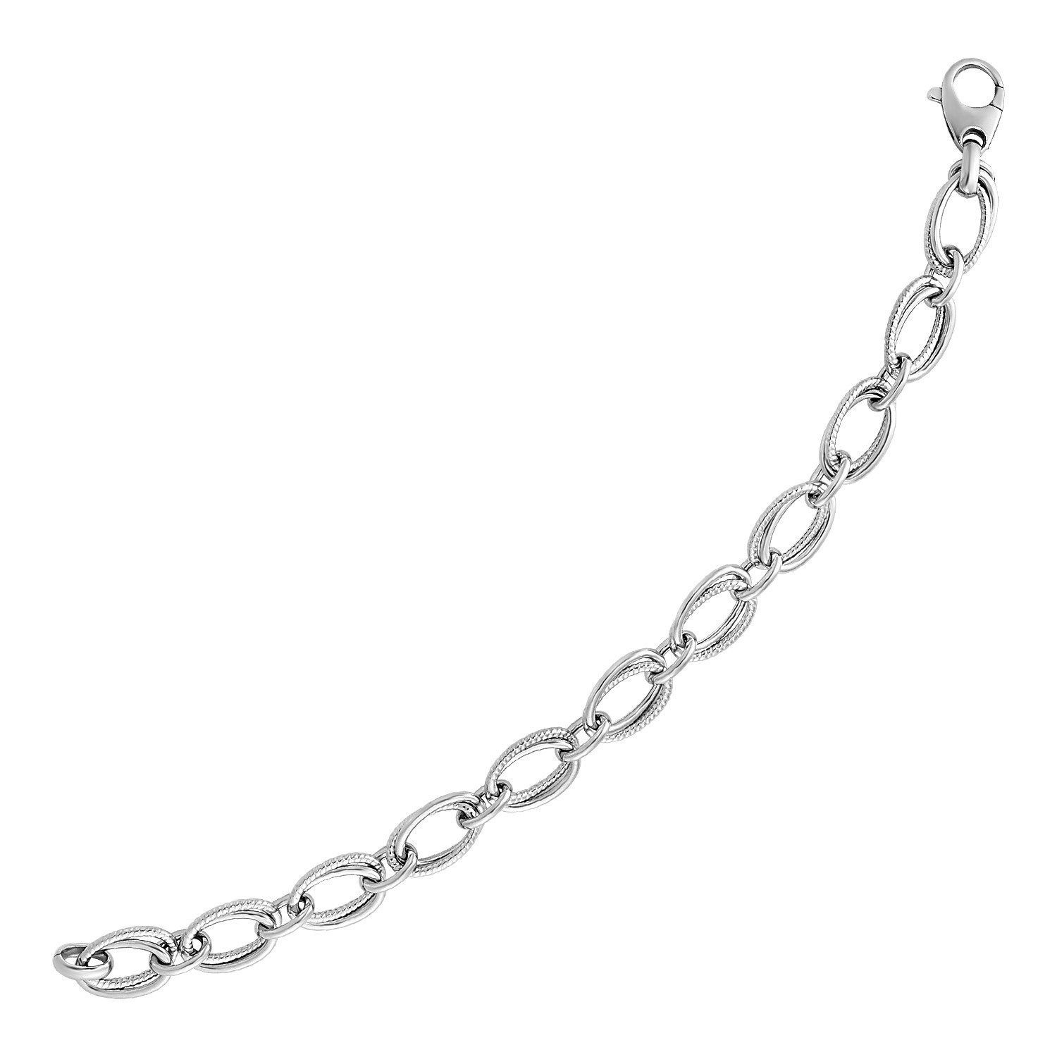 Primary image for Polished and Textured Oval Link Bracelet in Sterling Silver