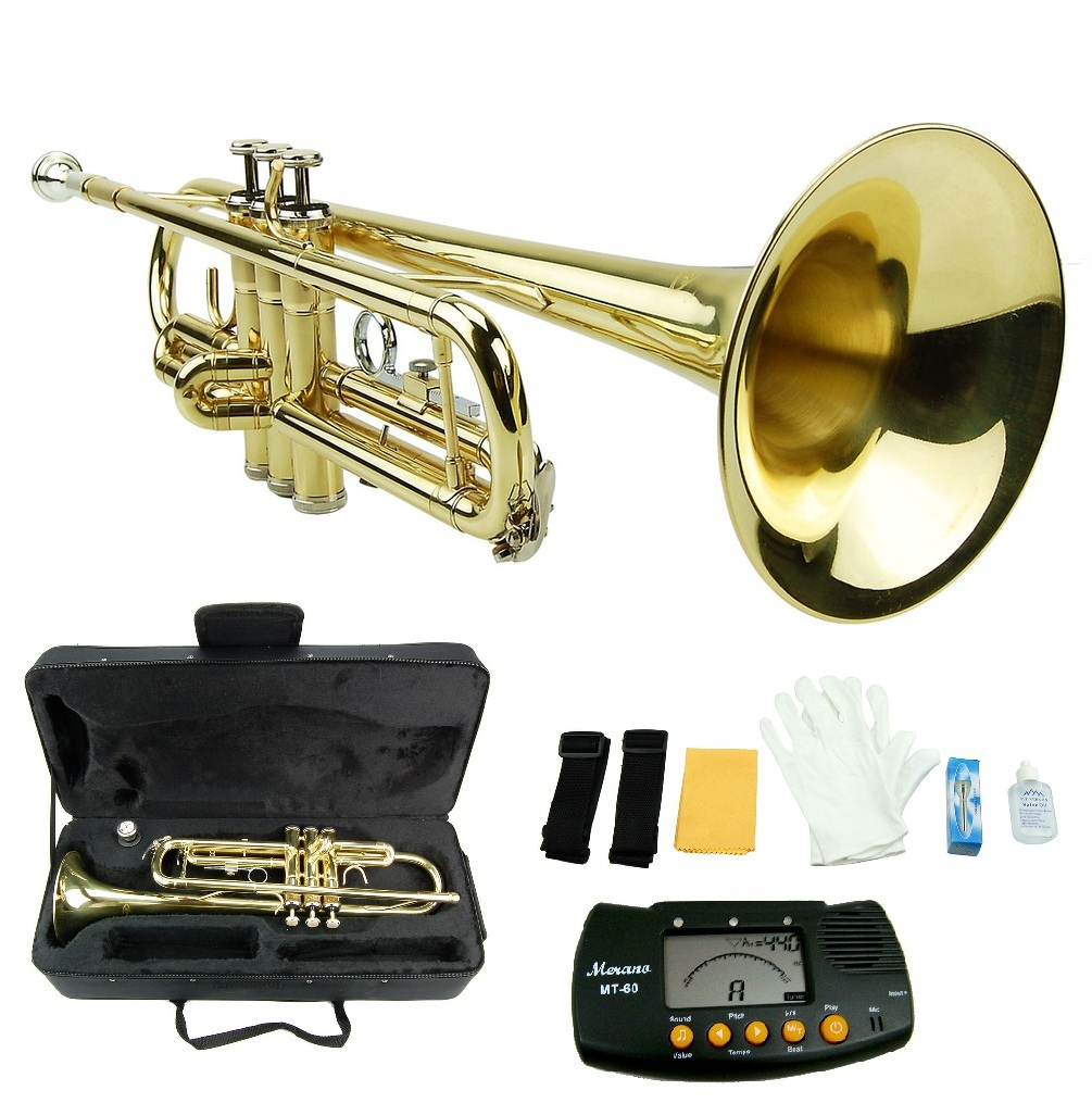 MERANO GOLD TRUMPET WITH CASE,MOUTH PIECE,GLOVES,OIL + FREE METRO TUNER