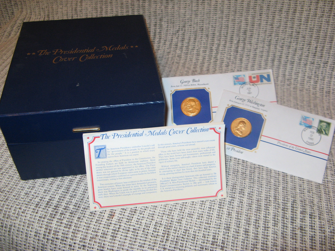 24kt Gold Plated- Presidential Medals Cover Collection - Issued 1990 - 1991