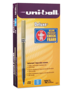 NEW Uni-Ball Deluxe Rollerball Pens 0.5mm Blue 12 Pens 60027 - $18.90