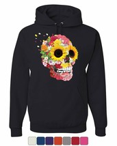 Sunflowers Sugar Skull Hoodie Day of the Dead Calavera Mexico Sweatshirt - $21.95+