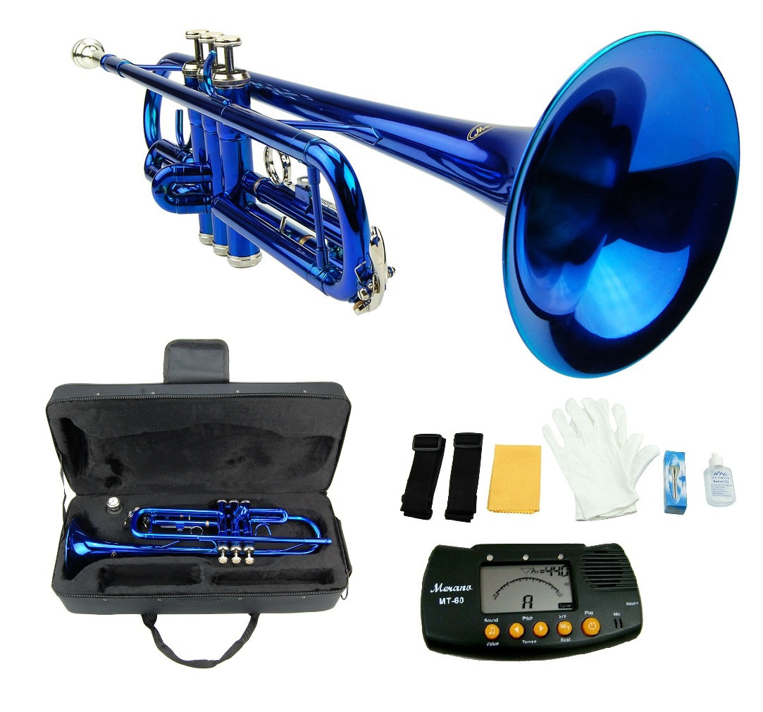 BLUE TRUMPET WITH CASE,MOUTH PIECE,GLOVES,OIL + FREE METRO TUNER