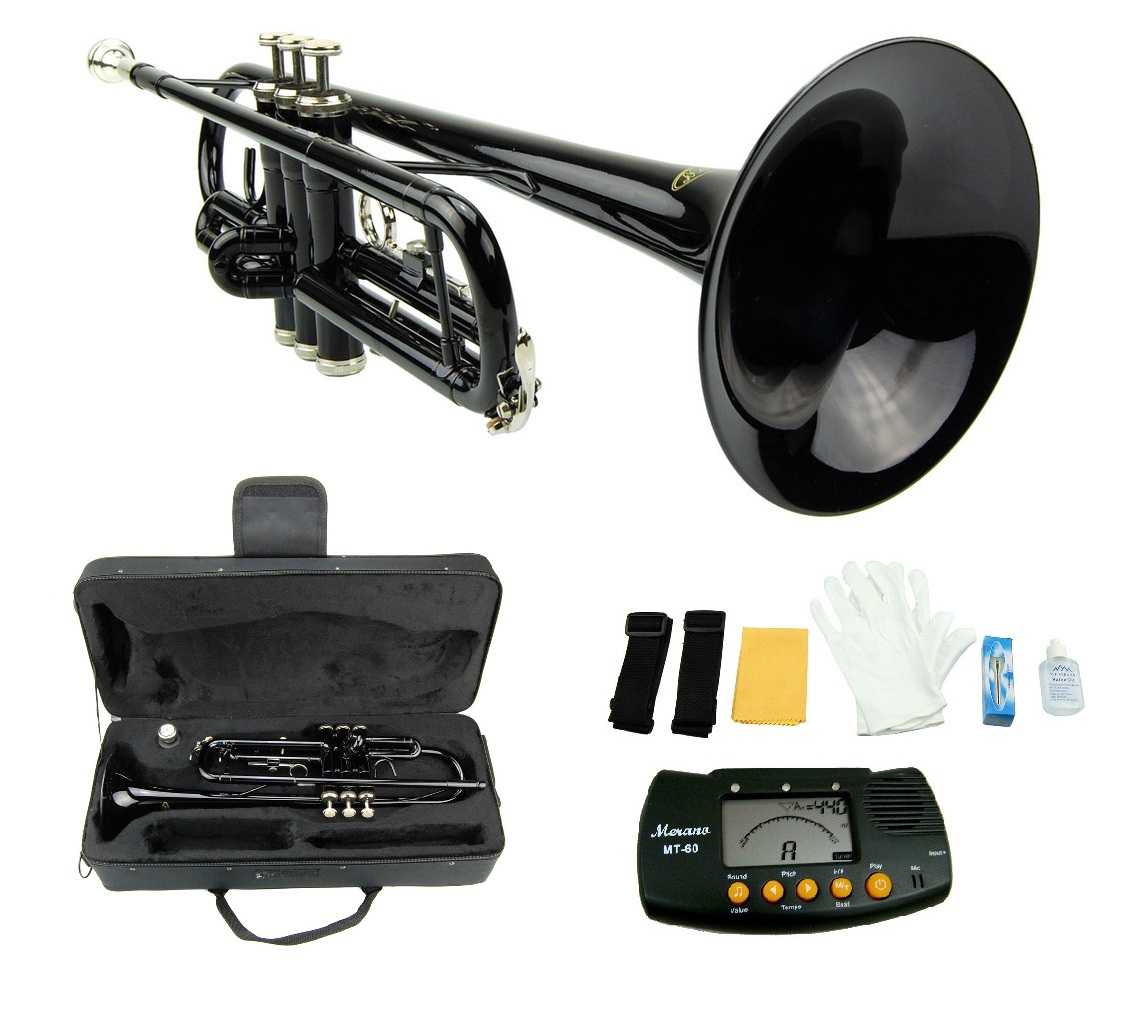 MERANO BLACK TRUMPET WITH CASE,MOUTH PIECE,GLOVES,OIL + FREE METRO TUNER