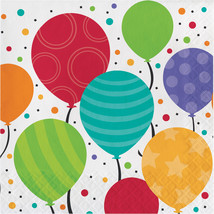 Shimmering Balloons 2 Ply Lunch Napkins/Case of 192 - $26.94