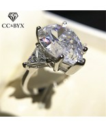 CC Wedding Rings For Women S925 Silver Water Drop Big Cubic Zirconia Lux... - $12.69