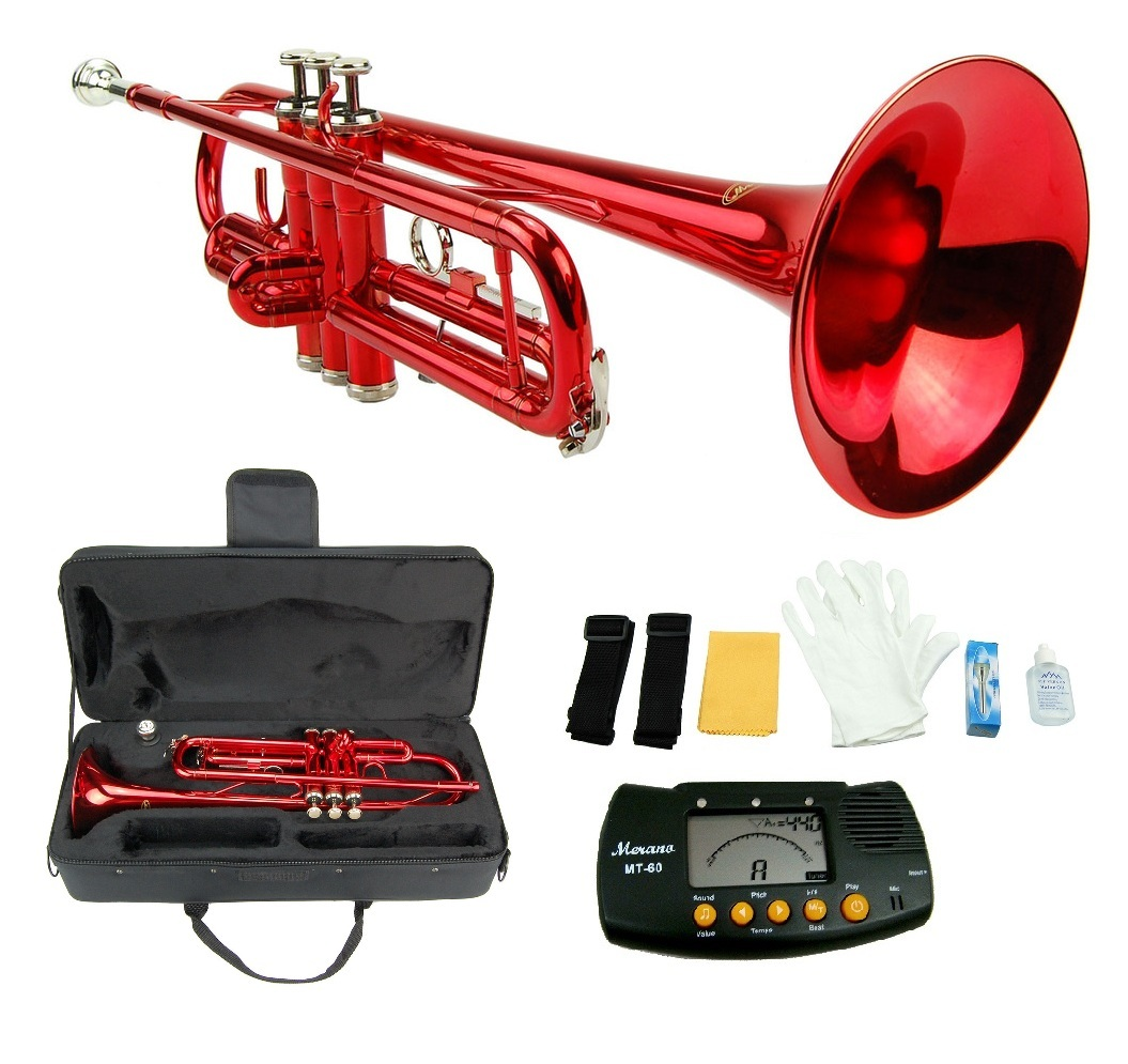 MERANO RED TRUMPET WITH CASE,MOUTH PIECE,GLOVES,OIL + FREE METRO TUNER