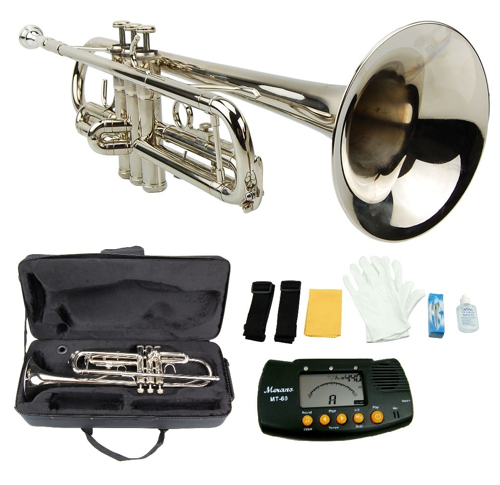 MERANO NICKEL PLATED TRUMPET WITH CASE,MOUTH PIECE,GLOVES,OIL + METRO TUNER