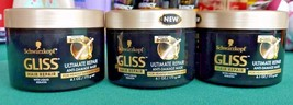 Lot 3 Schwarzkopf Gliss Ultimate Repair Anti Damage Mask Heavily Damaged... - $16.82