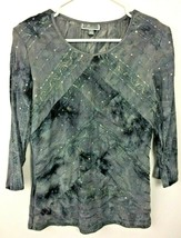 JM Collection Women's Gray & Black 3/4 Sleeve Pullover Top w/ Sequins - ... - $6.99