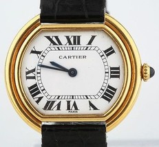 Cartier Ladies 18k Solid Yellow Gold Ellipse with Leather Strap with Buckle   - $3,564.00