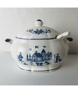 Soup Tureen or Gravy Boat Blue White Pottery Bowl Lid Ladel Japan Farm Rooster - $39.55