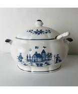 Soup Tureen or Gravy Boat Blue White Pottery Bowl Lid Ladel Japan Farm R... - $39.55