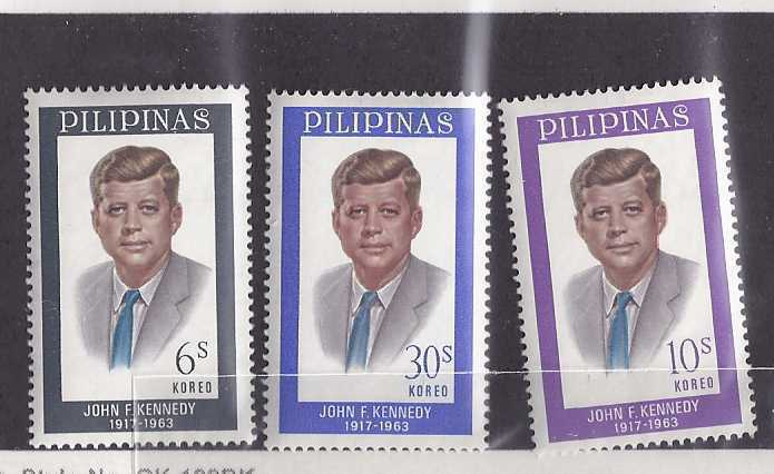3 PILIPINAS Stamps - JOHN F KENNEDY, Unused