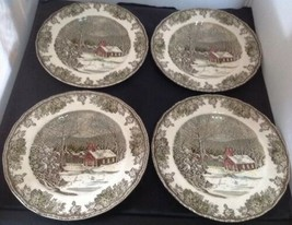 "Johnson Bros FRIENDLY VILLAGE/SCHOOLHOUSE Set of 4-9 7/8"" Dinner Plates ... - $38.70"