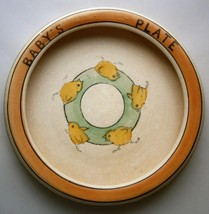 Roseville Pottery Juvenile Creamware Baby's Plate decorated with Chicks - $36.00
