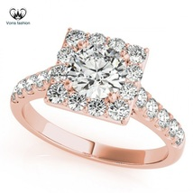 14k Rose Gold Plated Sterling Silver Round Cut CZ Square Shape Engagemen... - $71.99