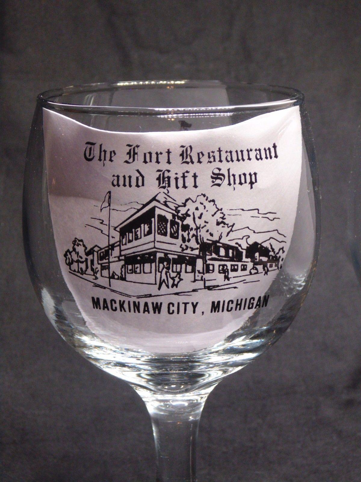 Vintage The Fort Restaurant & Gift Shop Mackinaw City Michigan Glass Goblets-2