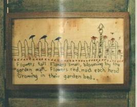 Garden Fence Crows Primitive Embroidery Cross Stitch Hand Dids Primitive Needlea - $6.00