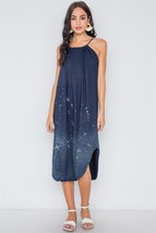 Navy Bleach Dye Loose Fit Cami Midi Dress / Bathing Suit Cover - $21.50