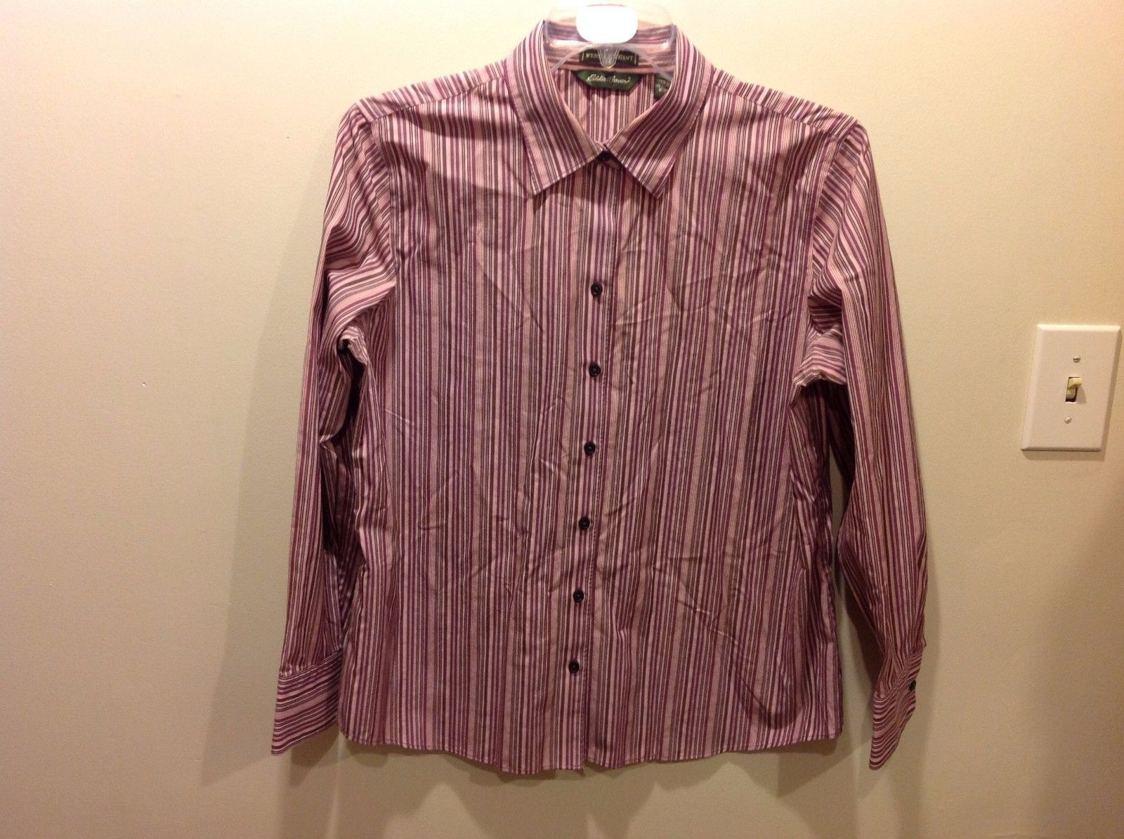 Eddie Bauer Pink Purple Vertically Striped Dressy Button Up Sz XL