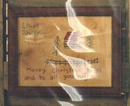 To All A Good Night Primitive Embroidery Cross Stitch Hand Dids Primitive Needle - $6.00