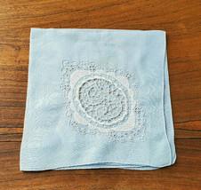 "Vintage Lovely Blue Embroirded Initial ""J"" w/ Floral Design Handkerchief - $14.80"