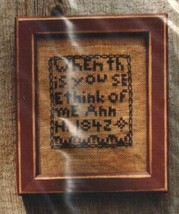 Think Of Me primitive cross stitch chart Hand Dids Primitive Needlearts - $6.00