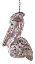 Coastal Pelican Bird White Wash Ceiling Fan Pull Silver Chain - $31.92