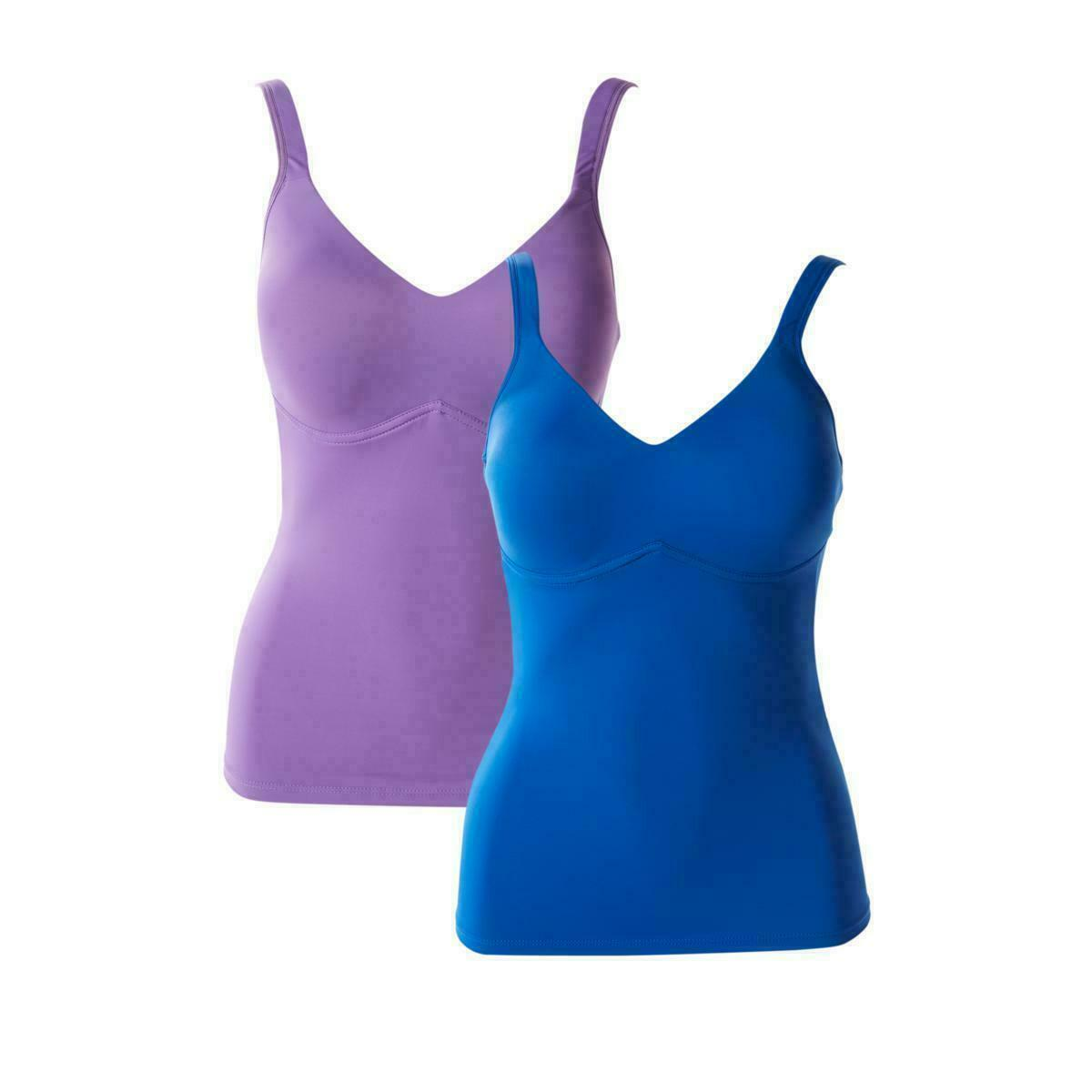Rhonda Shear 2-Pack Everyday Molded Cup Camisole, Purple/Blue, Medium