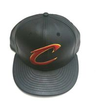 New Era Cleveland Cavaliers 59Fifty PU Leather Fitted Hat Black Size 7 1/8 image 3