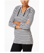 Calvin Klein Performance Striped Hooded Top, Size L, MSRP $49 - $23.36