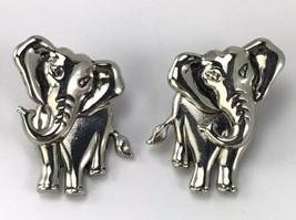 Avon 2-pc ELEPHANT EARRINGS Pierced Silvertone Metal Vintage 1990's ~ Do... - $24.75