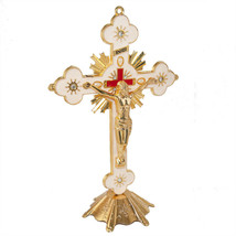 Antique Gold Plated Catholic Altar Standing Wall Crucifix INRI Jerusalem... - $22.77